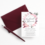 burgundy and pink floral bridal shower wedding shower virtual wedding shower invitation template2